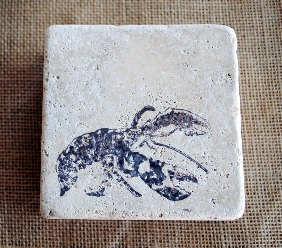 The Lobster  Designer Nautical Coaster Set of 4  by LadyFarrahsByL