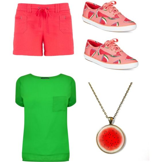 Watermelon by sdotv on Polyvore featuring polyvore, interior, interiors, interior design, home, home decor, interior decorating, French Connection, maurices and Keds