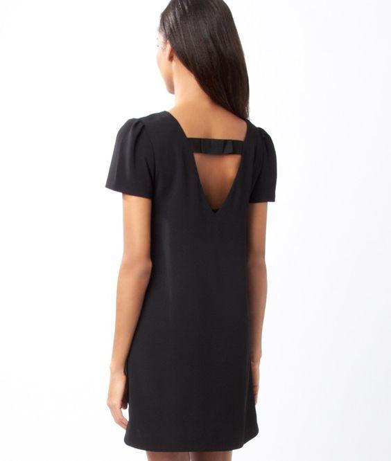 robe droite noeud dos asiana noir etam robes. Black Bedroom Furniture Sets. Home Design Ideas