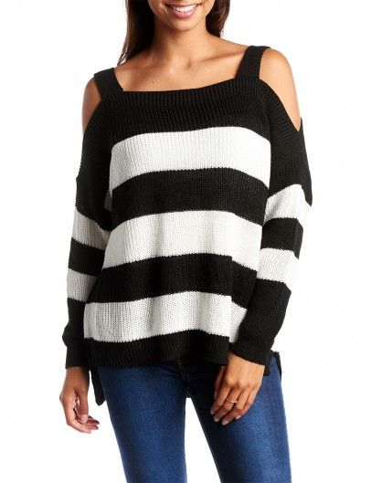 Open-shoulder Stripes Trui Zwart - truien kopen