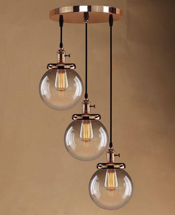 3 Pendant Ceiling Light: Retro Vintage Cluster Hanging Ceiling Lights Globe 3 Glass Shades Pendant  Lamp in Home, Furniture,Lighting