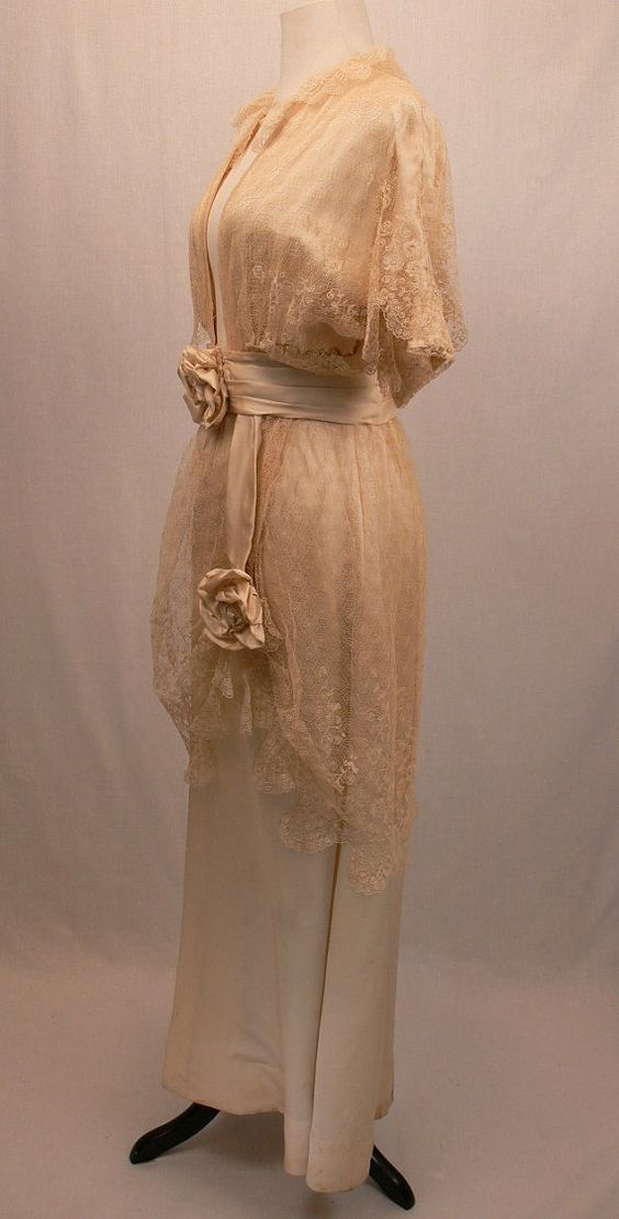 1910 Silk and Lace Wedding Dress.