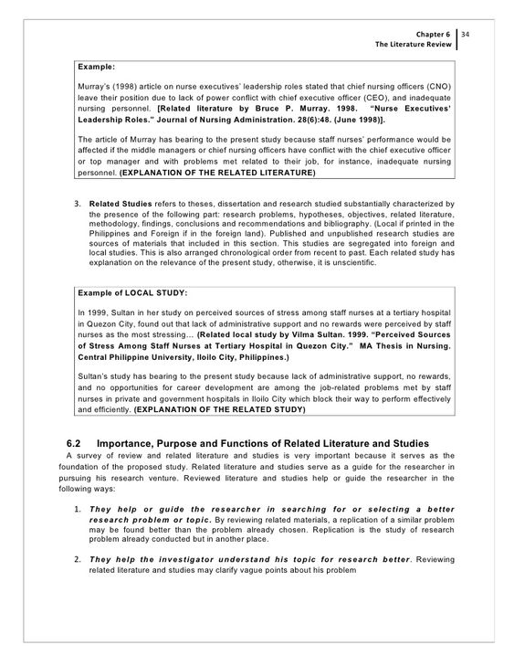 example of review of related literature in a research paper