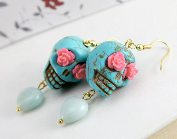 day of the dead, lovely Turquoise skull earrings, with peach rose $8.50