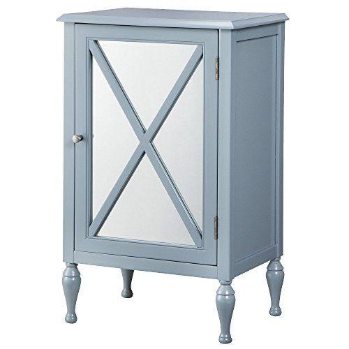 Storage Chest Hollywood Mirrored One Door Storage Cabinet Blue 14696850 Accent Furniture Hollywood Mirror Decor