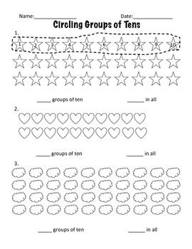 Worksheets Making Groups Of 10 Worksheets place value circling groups of ten places values and group i created these worksheets while teaching a unit on provide great practice with objects to