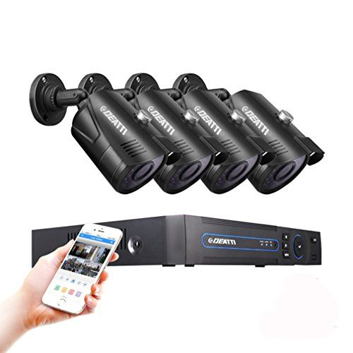 Pack Of 4 Weatherproof Security Camera System w// 4ch Full 1080p Video