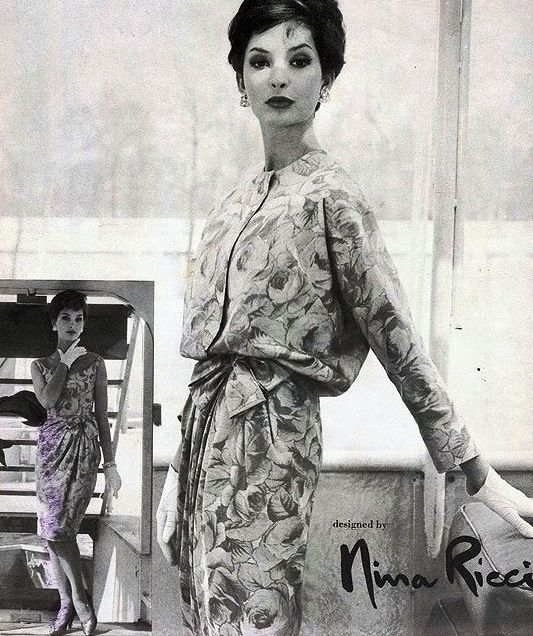 1950s  NINA RICCI COCKTAIL EVENING DRESS, BLOUSON JACKET PATTERN LOVELY DRAPED FRONT VOGUE PARIS ORIGINAL 1423