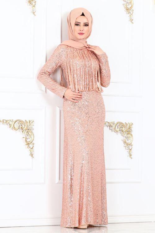 Modaselvim Abiye Seritli Pul Payet Abiye Ech7305 Gold Elbise Modelleri Elbiseler Elbise