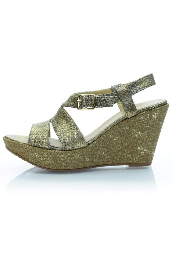 "This gold snakeskin embossed Italian leather wedge is a stunner. A 3.5"" wedge and 1"" platform make this Vaneli wedge super comfy. A gold buckle at the ankle helps make sure you get the best fit possible. You'll be the talk of the town in these gorgeous wedges. Also available in a narrow width.    Heel height: 3.5""; 1"" platform   Snakeskin Wedge Sandal by Vaneli. Shoes - Wedges South Carolina"