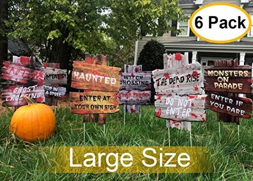 Amazon Com Yard Signs For Halloween Beware Signs Yard Stakes Warning Yard Sign Stakes Fo Halloween Outdoor Decorations Halloween Beware Sign Beware Halloween