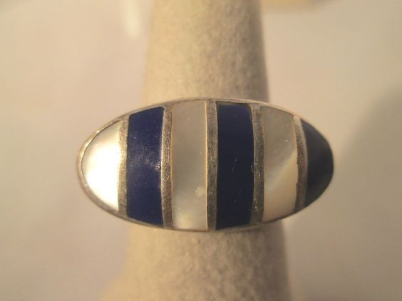 STERLING SILVER RING  INLAY LAPIS MOTHER OF PEARL ESTATE JEWELRY SIZE 6.75 #Unbranded