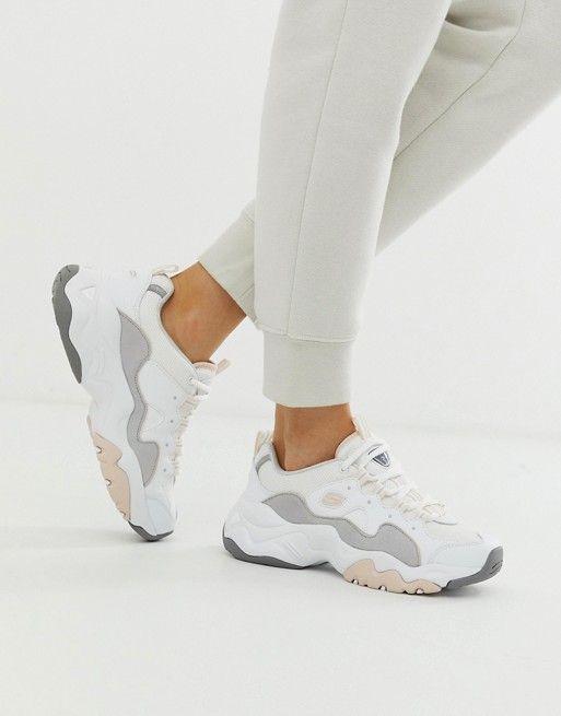 Skechers D'Lite chunky sneakers 3.0 in white   ASOS