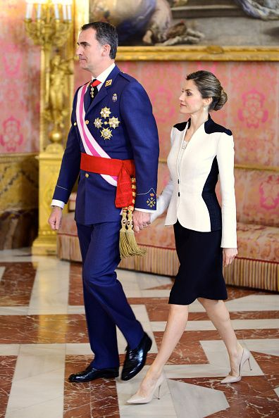 King Felipe VI of Spain and Queen Letizia of Spain attend the Armed Forces Day Hommage reception at the Royal Palace on May 28 2016 in Madrid Spain