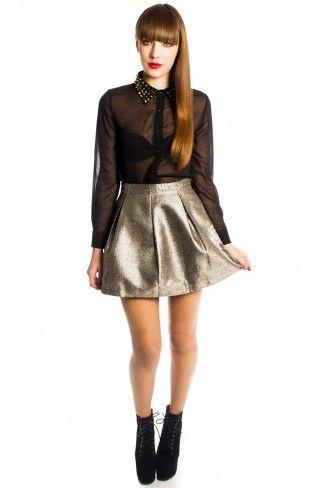Lena Metallic Gold Skater Skirt