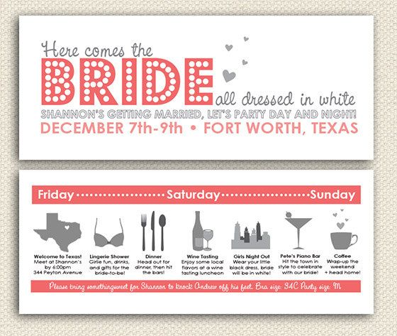Bachelorette Weekend Invitation - Itinerary - Austin, Texas ...