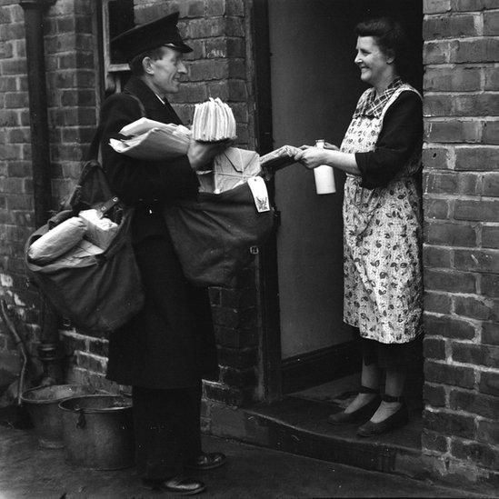 British postman in the 1950s. Two post deliveries a day including Saturdays and no van or hand-cart.