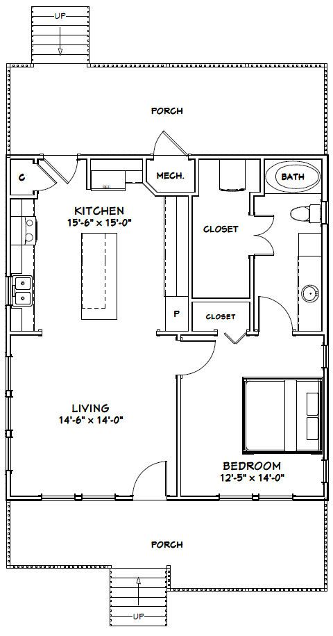 28x30 House 28x30h1b 840 Sq Ft Excellent Floor Plans House Plans Tiny House Floor Plans Floor Plans