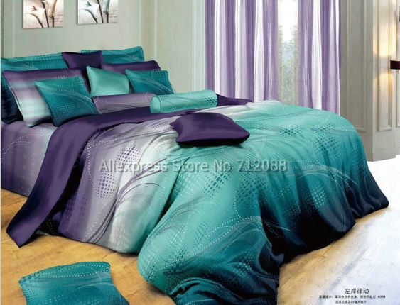 cotton mordern design blue purple geometric pattern hot sale bedlinen 4pcs queen/full bedding sets comforter/quilt/duvet covers-in Bedding Sets from Home & Garden on Aliexpress.com $49.99