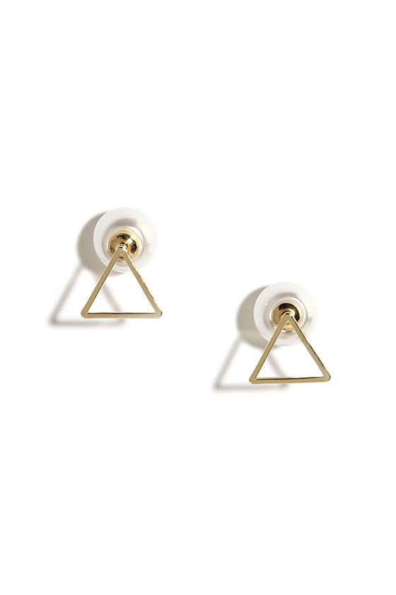 Shaping Up Gold and Pearl Peekaboo Earrings at Lulus.com! // As seen in People Style Watch, Dec.2015/Jan. 2016, pg. 26
