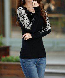 Lace Crochet Flower Stitching Cotton Blend Color Matching Sweater For Women (AS THE PICTURE,ONE SIZE) | Sammydress.com