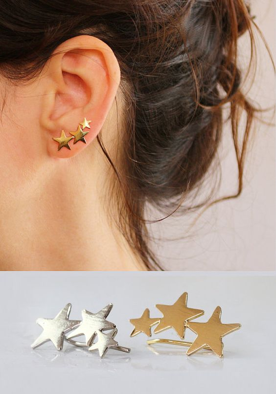 Star ear cuff , Gold earrings , Ear Climber , 3 Stars , 18K gold plated…