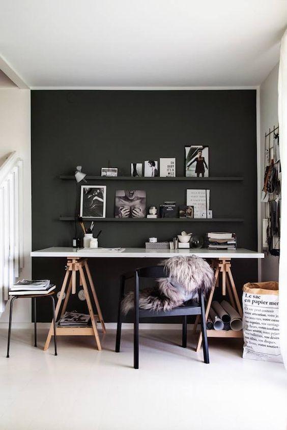 Modern Scandinavian Home Office In Dark Grey Interior With White Work Desk Home Office Decor Home Office Design House Interior