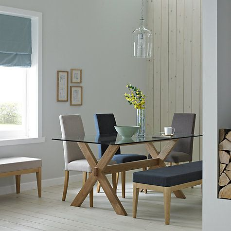 Buy John Lewis Gene 6 Seater Rectangular Dining Table, Glass ...