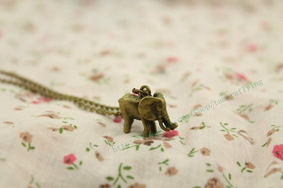 elephant necklace vintage style steampunk jewelry antique gift on Etsy, $1.80