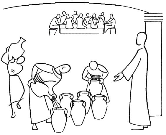 Annie Valloton Coloring Page Miracle Of Wine From 6 Water Jars More Biblekidseu New Testament Wedding 20at 20cana At Cana I