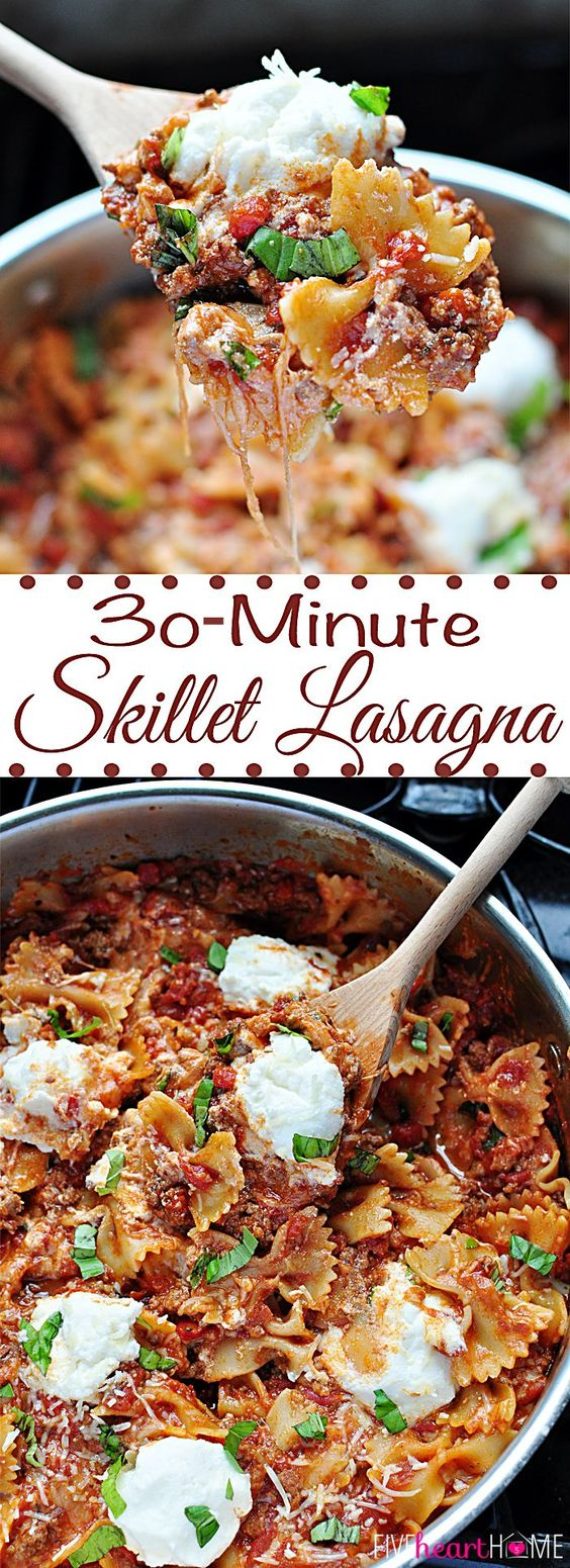 30 Minute One Skillet Lasagna Recipe | FIVEheartHOME #onepotmeals #onepot #onepotdinner #onepotsuppers #onepotrecipes #onepotlasagna #skilletmeals