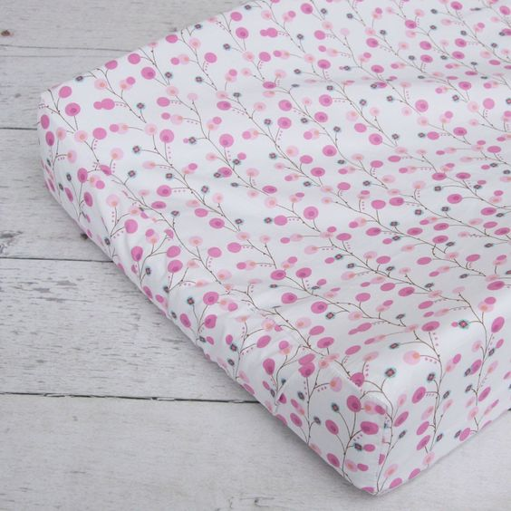 Caden Lane Modern Vintage Pink Twiggy Changing Pad Cover, available at #polkadotpeacock. #peacocklove #cadenlane