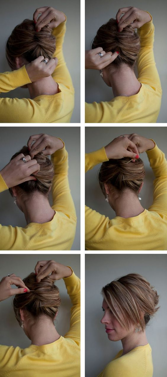 Hairstyle How-to: Easy French Roll.  I used this to help me do my hair for an interview.