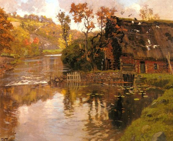 """$238, 24""""x36"""", Cottage By A Stream"""