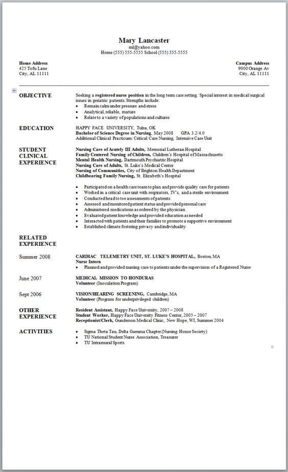 Sample Nursing Resume - New Graduate Nurse Nursing Job - sample nursing student resume