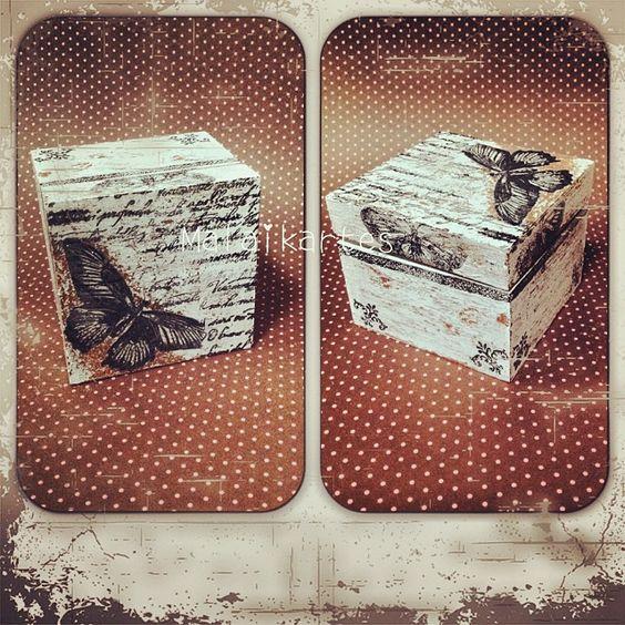 """Caixa em Decoupage """"Borboletas Vintage""""     ***Aceito Encomendas  http://instagram.com/malaikartes Decoupage"""