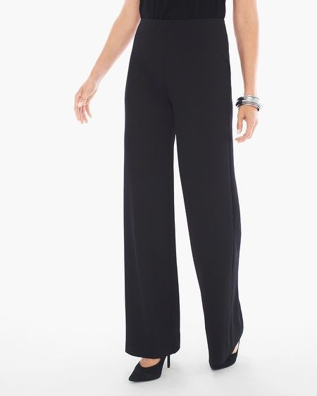 """In a comfortable fit and a seasonless color, these wide-leg pants are the most flattering way to go with the flow.     Custom-colored to match our wrinkle-free Travelers™ Classics.  Pull-on styling with flat elastic waist.  Regular inseam: 31.5"""".  Petite inseam: 27.5"""".  Polyester, spandex.  Machine wash. Imported."""