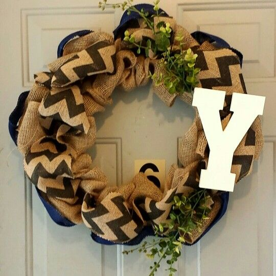 Burlap with chevron with a pop of blue and green.
