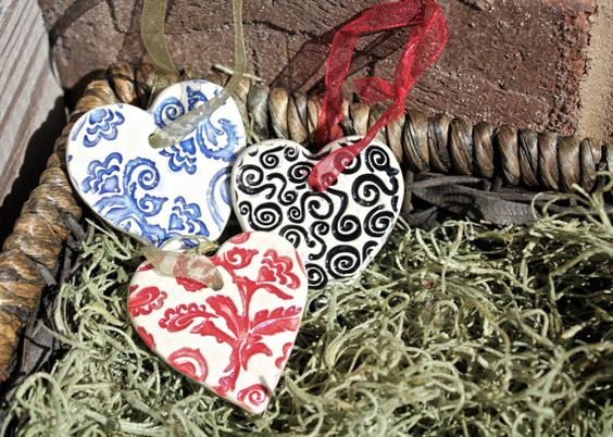 Set of Three Double Sided Paisley and Swirls Ceramic Heart Ornaments by BrandalionMudworks.