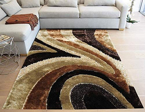 La Striped Woven Braided Hand Knotted Feizy Accent Fluffy Fuzzy Modern Contemporary Medium Pile Shimmer Fluffy 8 Feet In 2020 Rugs On Carpet Brown Area Rugs Area Rugs