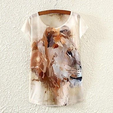 De las mujeres Bloques Camiseta-Escote Redondo-Mezclas de Algodón-Manga Corta 2760180 2016 – $5.99
