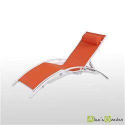 64,9€ 2/3/ se Bain de soleil en Aluminium et textilène lounge Louisa transat blanc orange