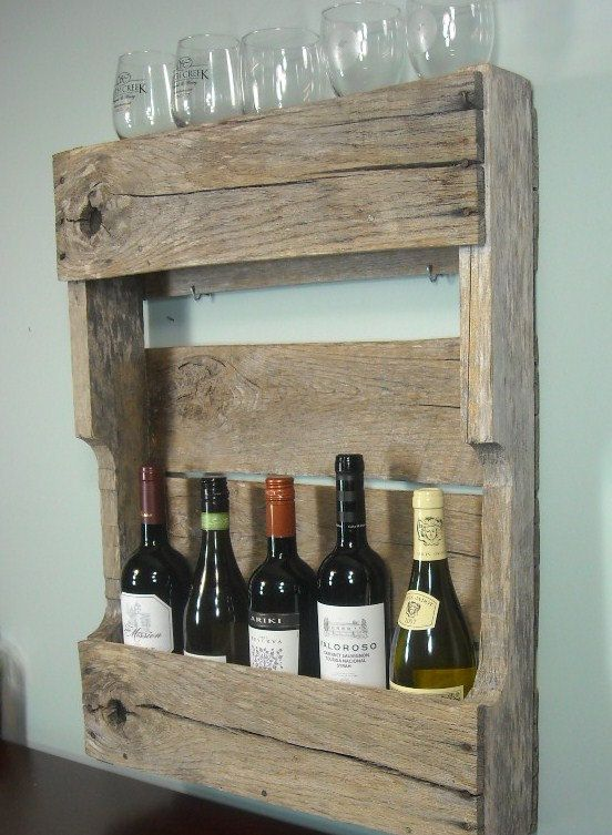 Small pallet wine rack rustic wine shelf book shelf for Crate wine rack diy