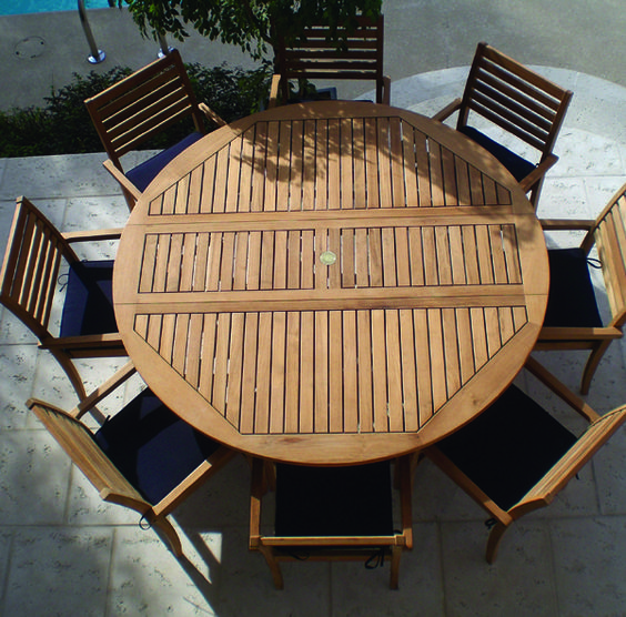 Round wooden metal patio table royal teak round drop for Round wood dining table with leaf