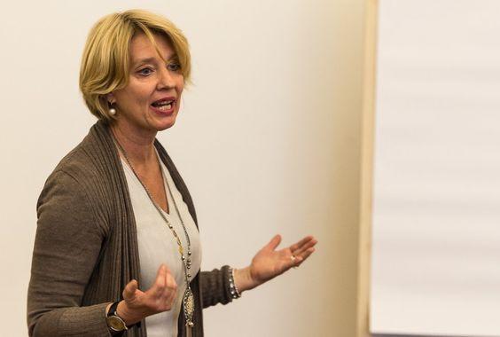 Schauspieler- und Speaker-Coach Karin Seven am 4.4.2016 bei der GSA Berlin. Foto: Dieter Düvelmeyer