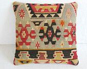 Kilim Pillow Cover Turkish Throw Pillow Accent pillow Decorative Pillow by DECOLIC