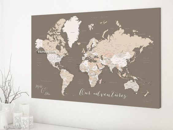 Custom quote world map canvas print - neutrals world map with cities. Color combination: Earth tones