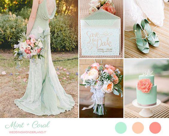 mint and coral wedding inspiration http://weddingwonderland.it/2015/04/matrimonio-menta-corallo.html