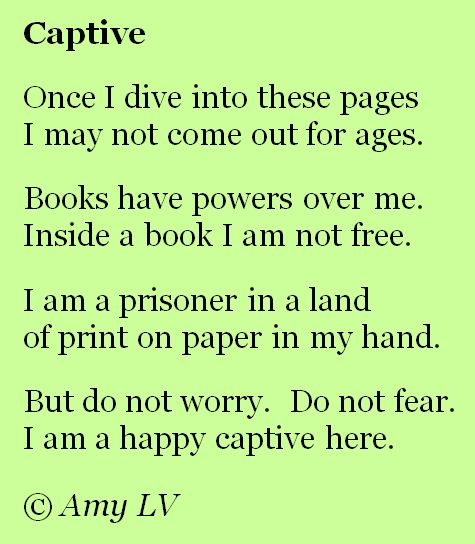 """""""Once I dive into these pages, I may not come out for ages."""""""