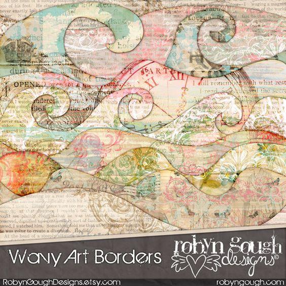 Wavy Digital Scrapbook ClipArt Borders Embellishments - Wavy Art Borders by Robyn Gough on Etsy, digiscrap, digital scrapbooking